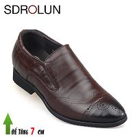 Giày cao nam màu nâu mũi giày đục lỗ phong cách Ý 2019; MS GC737012N
