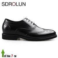 Giày da đế cao tối đa 7cm phong cách Châu Âu cho các quý ông màu đen 2018; Mã số GC68668D